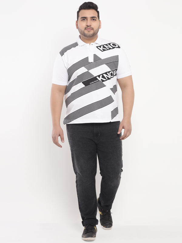 White Graphic Print Polo T-Shirt -3208