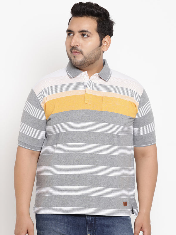 Grey Smart Fit Polo Neck Casual Men T-Shirt-3209B