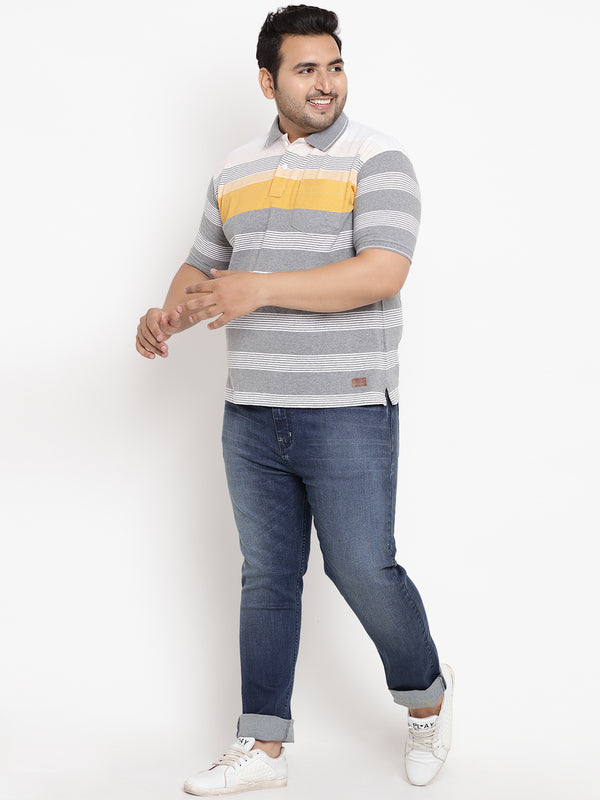 Striped Grey & Yellow Polo T-Shirt-3209B