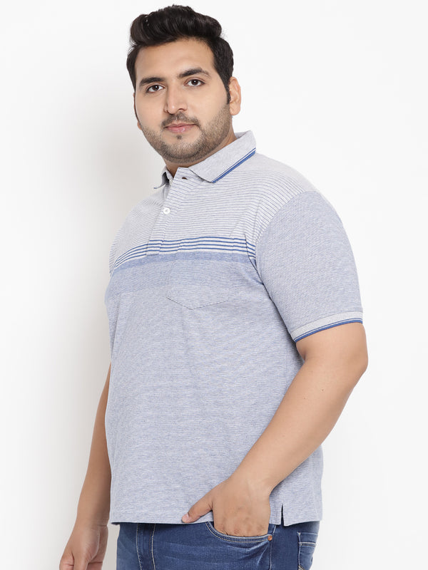 Striped Bright Blue Polo T-Shirt-3210A