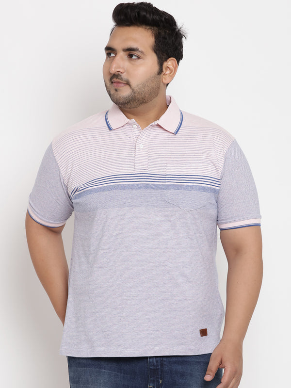 Striped Pink & Blue Polo T-Shirt-3210B