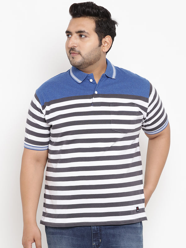Striped Blue Polo T-Shirt-3211A