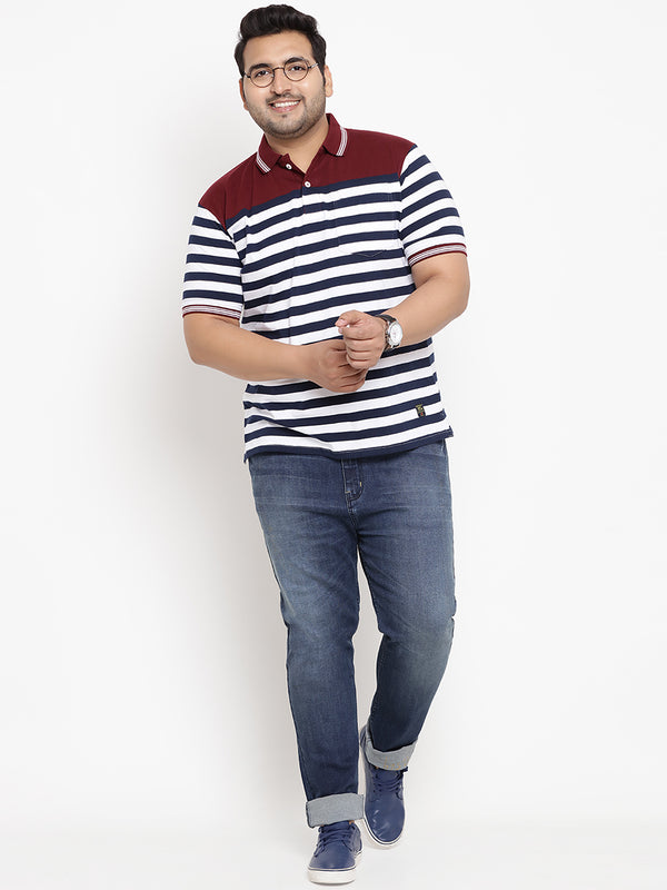 Striped Maroon & Navy Blue Polo T-Shirt-3211B