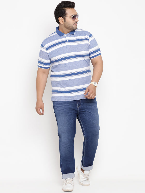 Blue-Gray Stripes Polo T-Shirt - 3212