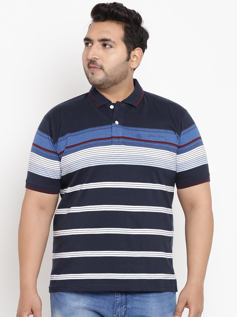 Oxford Blue Stripes Polo T-Shirt -3213