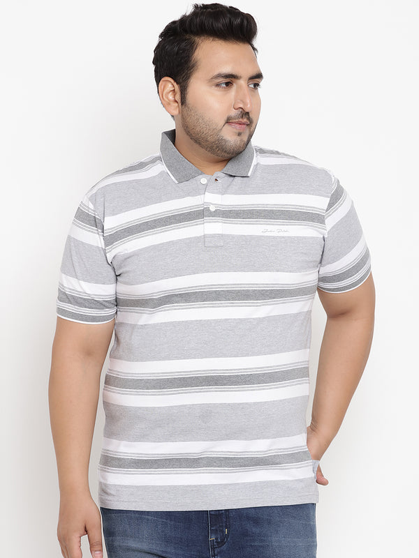 Pewter Grey Stripes polo T-Shirt - 3214