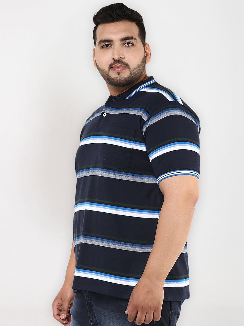 Prussian Blue Stripes polo T-Shirt - 3215