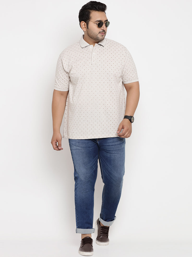 Square Printed Off-White Polo T-shirt- 3216
