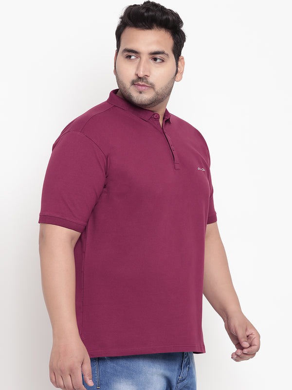 Unassuming Hibiscus Red Polo T-Shirt - 3218