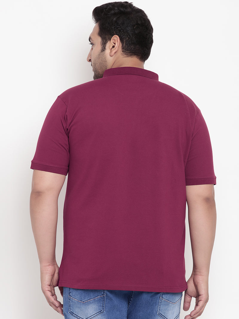 Unassuming Hibiscus Red Polo Stretchable T-Shirt - 3218