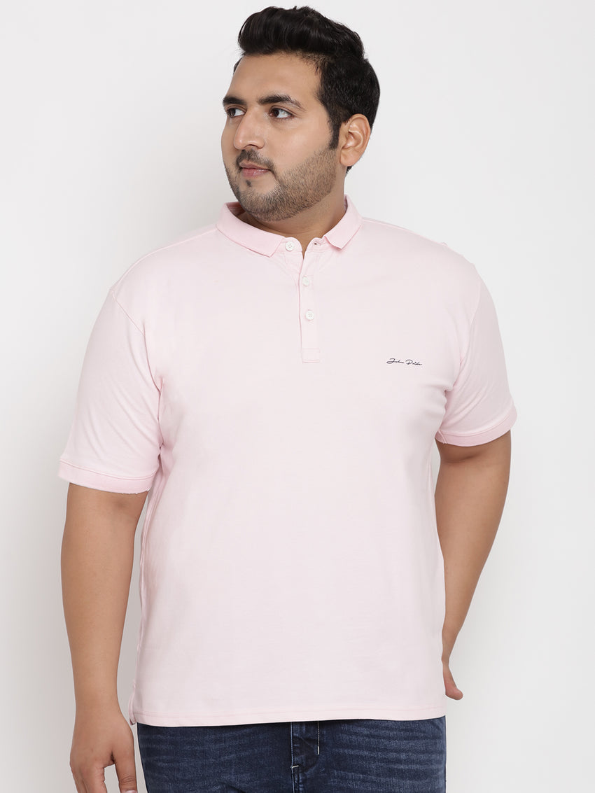 Unassuming Lemonade Pink Polo stretchable T-Shirt - 3219
