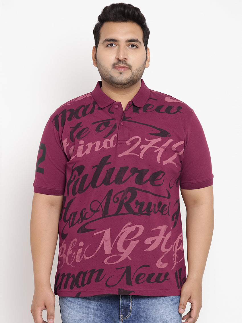 Hibiscus Red Graphic Print Polo Stretchable T-Shirt- 3222
