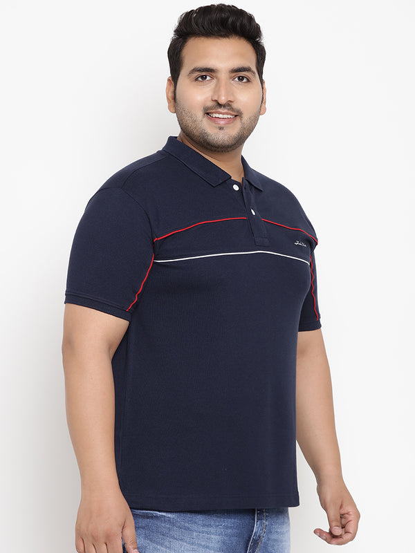 Blue Stretchable Polo T-Shirt With Contrasting Accents - 3223