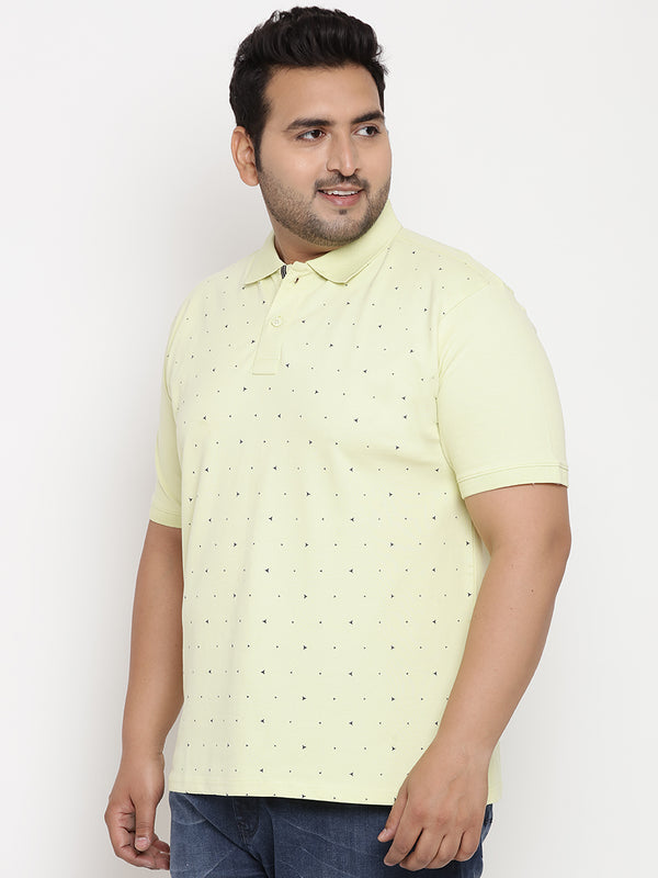 Lemon Basil Graphic Print Polo Stretchable T-Shirt - 3225