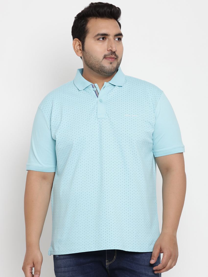 Turquoise Stretchable Polo T-Shirt - 3226