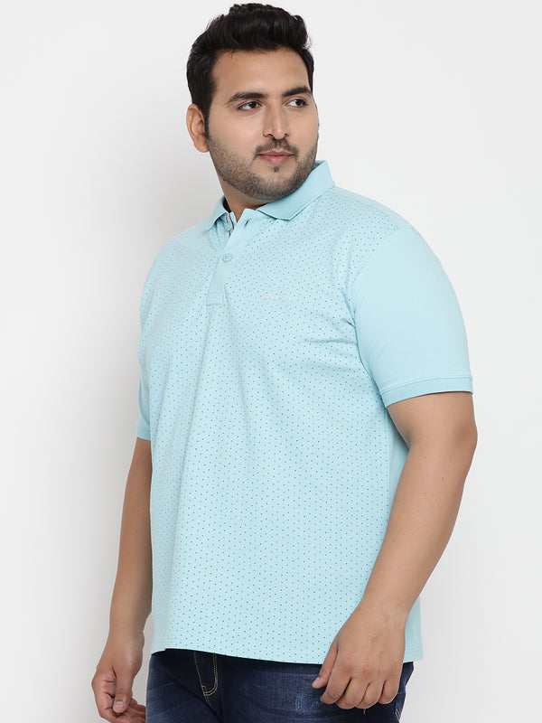 Dots Printed Turquoise Polo T-Shirt - 3226