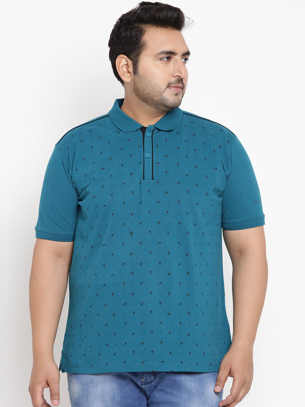Teal Blue Graphic Print Stretchable Polo T-Shirt - 3229