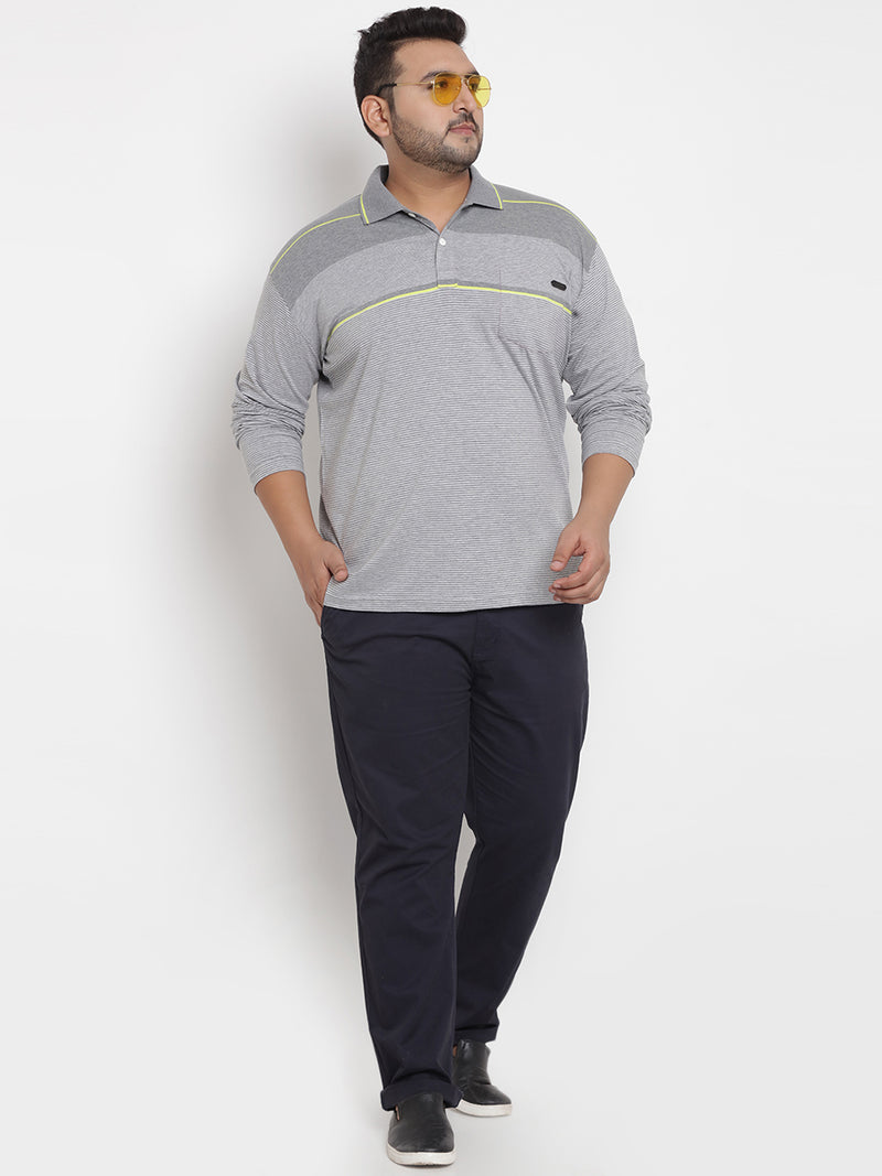 Grey Stretchable Polo T-Shirt - 3235A