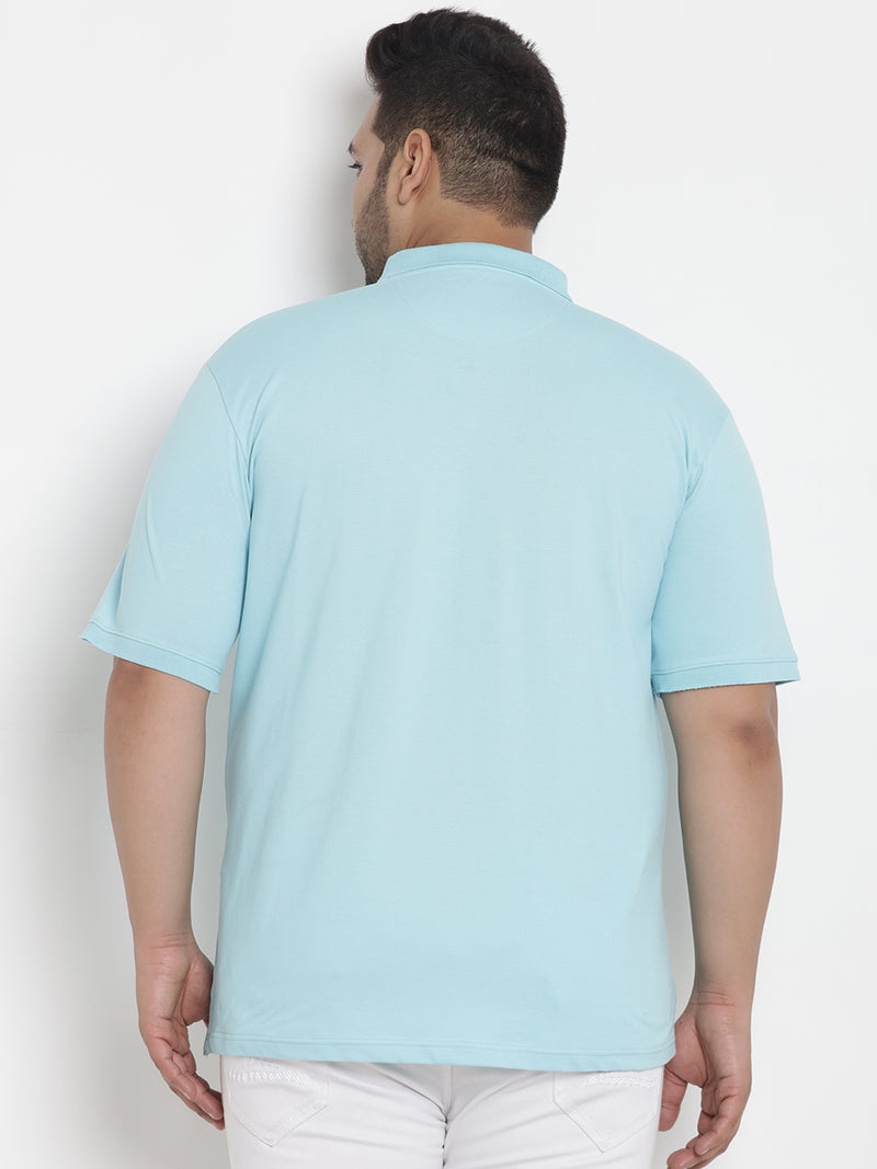Turquoise Blue Stretchable Polo T-Shirt - 3237
