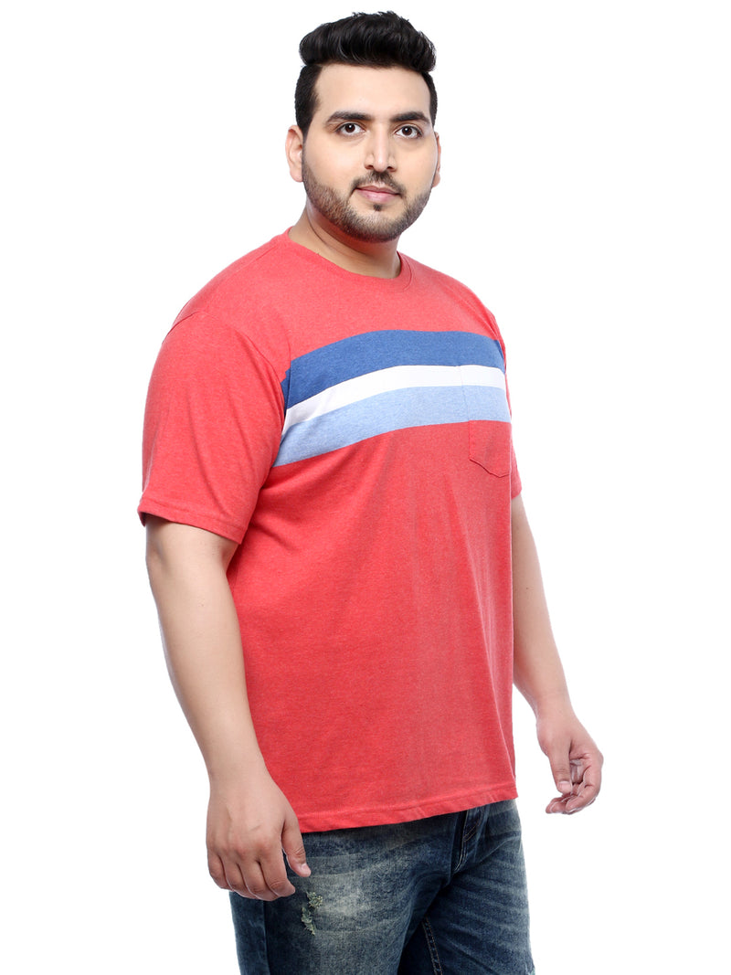 Orange Half Sleeve Round Neck Striped T-Shirt- 360
