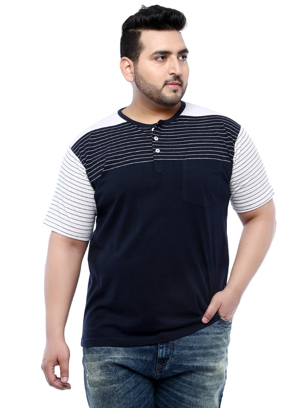 Navy Blue Half Sleeve Round Neck Striped T-Shirt- 316