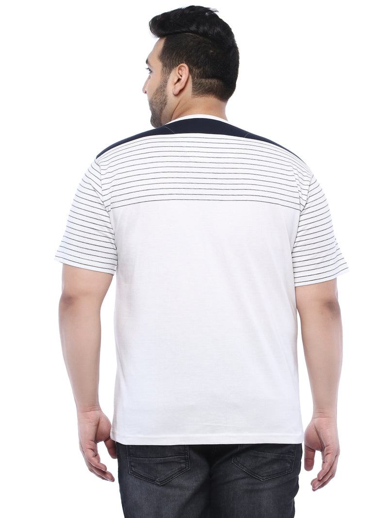 White Half Sleeve Round Neck Striped T-Shirt- 311B