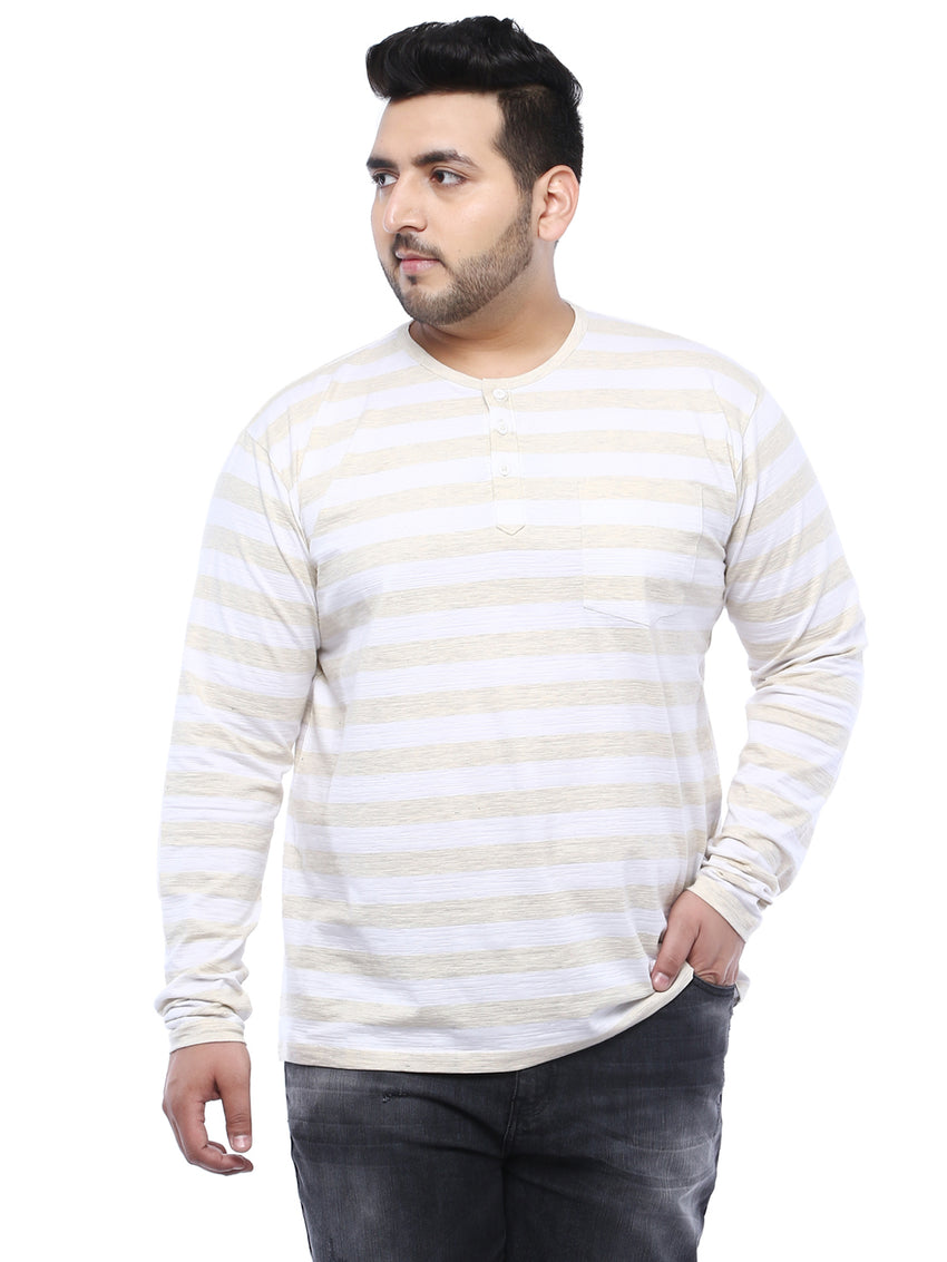 Striped Cream full Sleeve Round Neck T-Shirt- 312