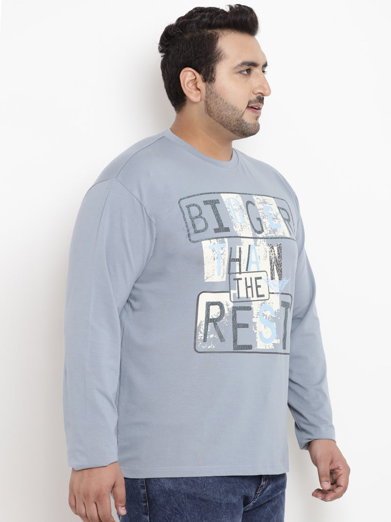 Stone Blue Full Sleeve Round Neck T-Shirt- 320A