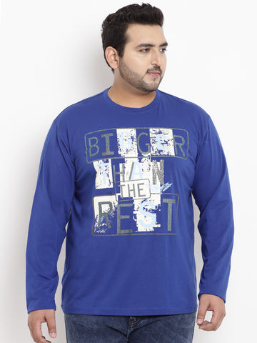 Royal Blue Full Sleeve Round Neck T-Shirt- 320B