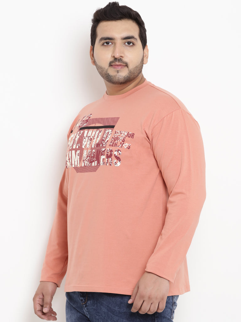 Peach Full Sleeve Round Neck T-Shirt- 321A