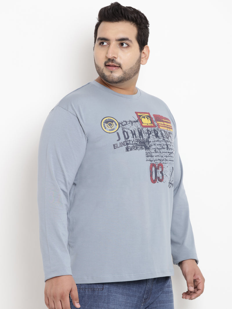 Sky Blue Full Sleeve Round Neck T-Shirt- 322B