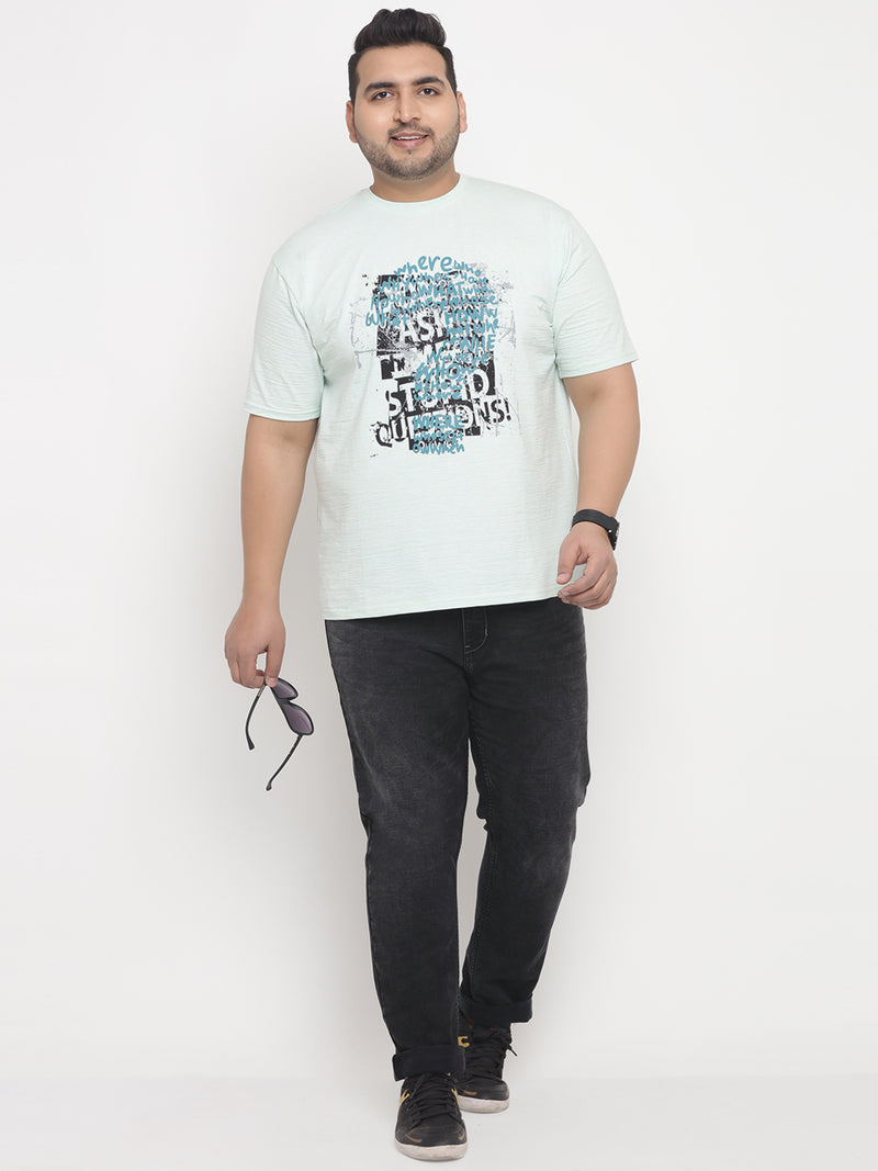Sea Green Graphic Stretchable Round Neck Tee -331