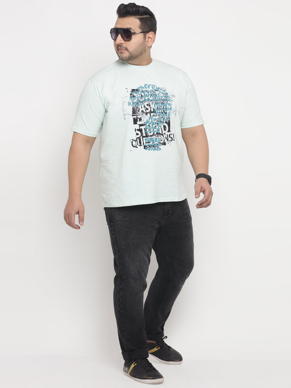 Sea Green With Front Print Round Neck T-Shirt-331