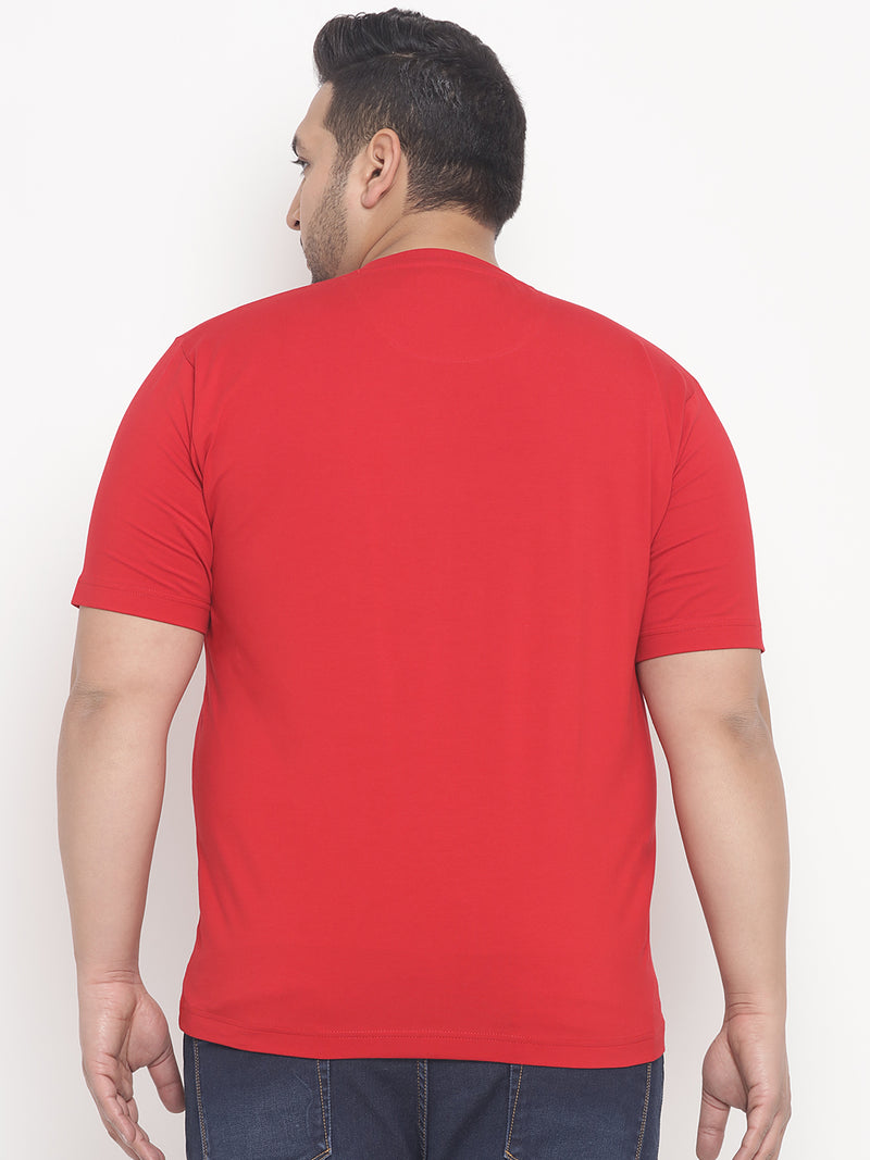 Red With Front Print Round Neck T-Shirt-333