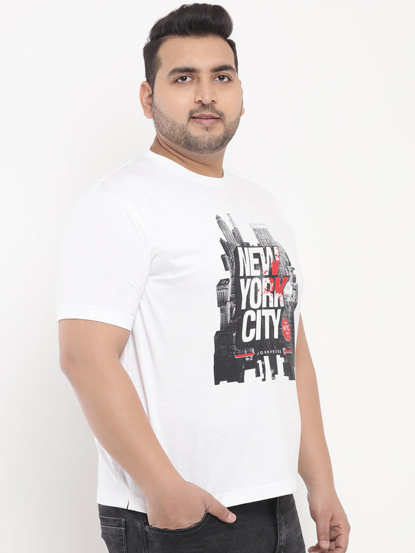 White New York Print Round Neck T-Shirt-335