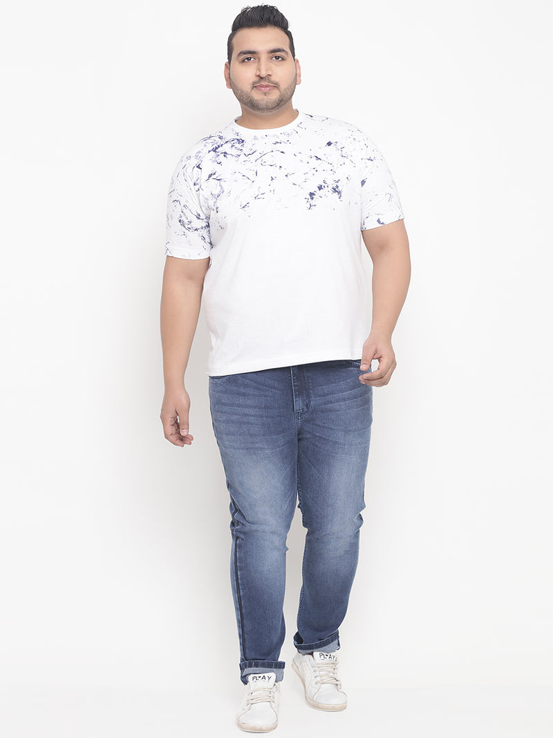 White Print Round Neck Stretchable T-Shirt-336