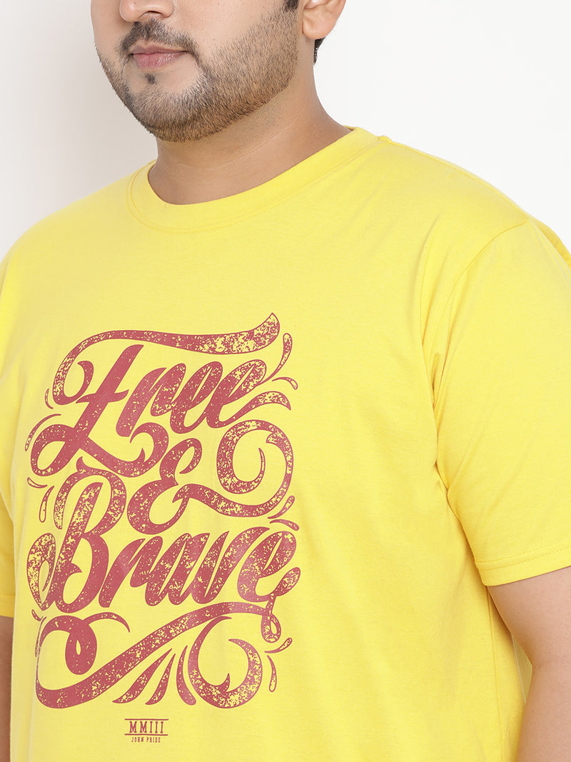 Canary Yellow 'FREE & BRAVE' Round Neck Tee - 342