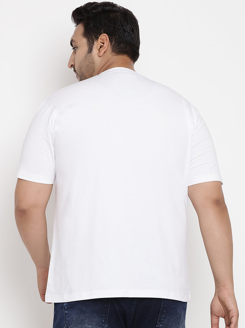 White 'BROOKLYN' Stretchable Round Neck Tee - 347