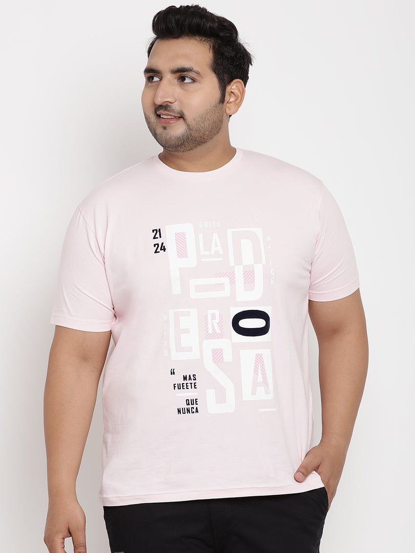 Crepe Pink  Graphic Print Round Neck Stretchable Tee - 350