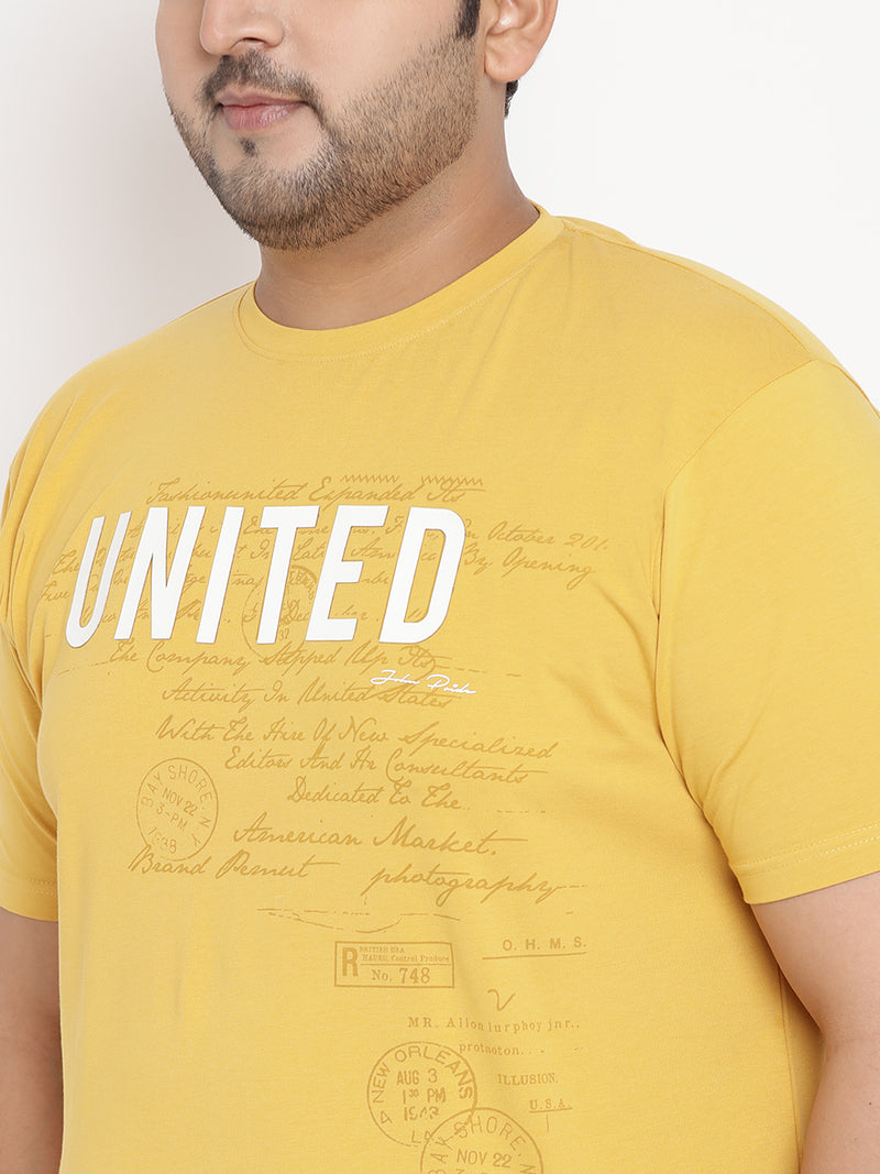 Bumblebee Yellow 'UNITED' Round Neck Stretchable Tee - 351