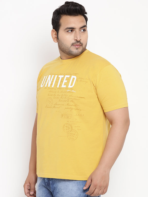 Bumblebee Yellow 'UNITED' Round Neck Tee - 351