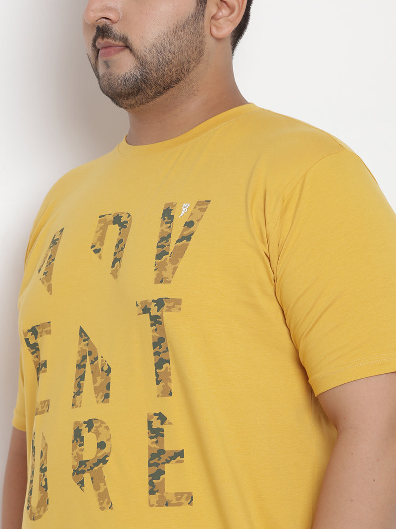 Yellow Stretchable round Neck T-Shirt - 355
