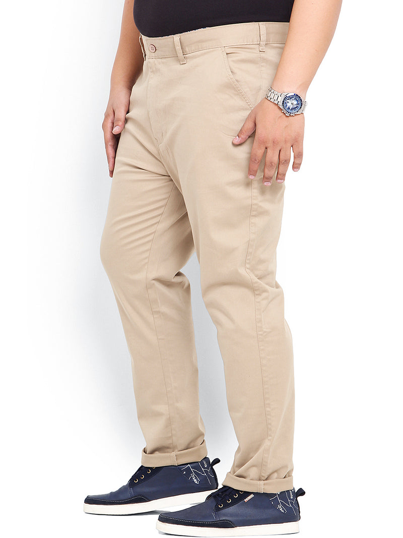 Beige Cotton Stretch Trouser- 1641
