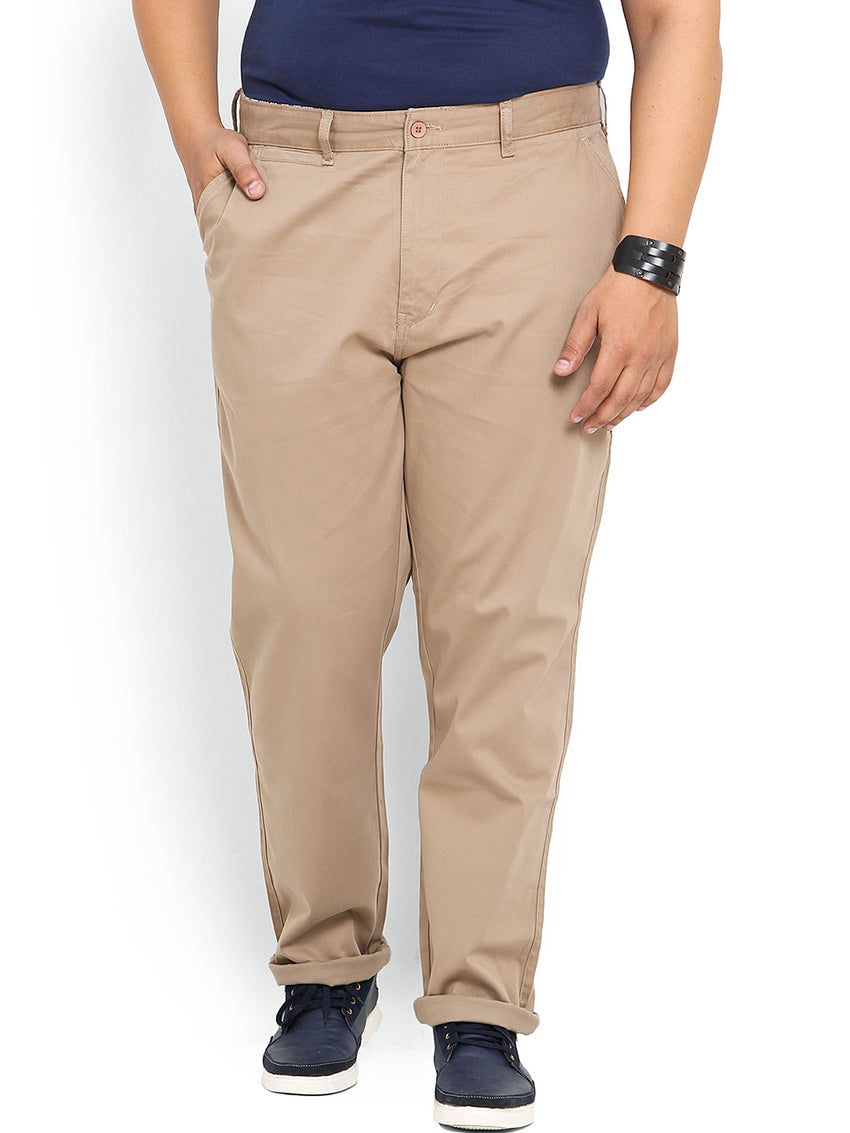 Khaki Cotton Stretch Trouser- 1641