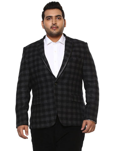 Black Checked Tweed Blazer-7702