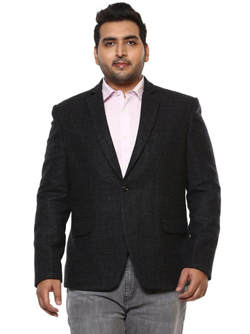 Black Solid Tweed Blazer-7703