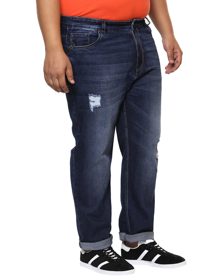 Dark Blue Stretchable Rugged Jeans-1163