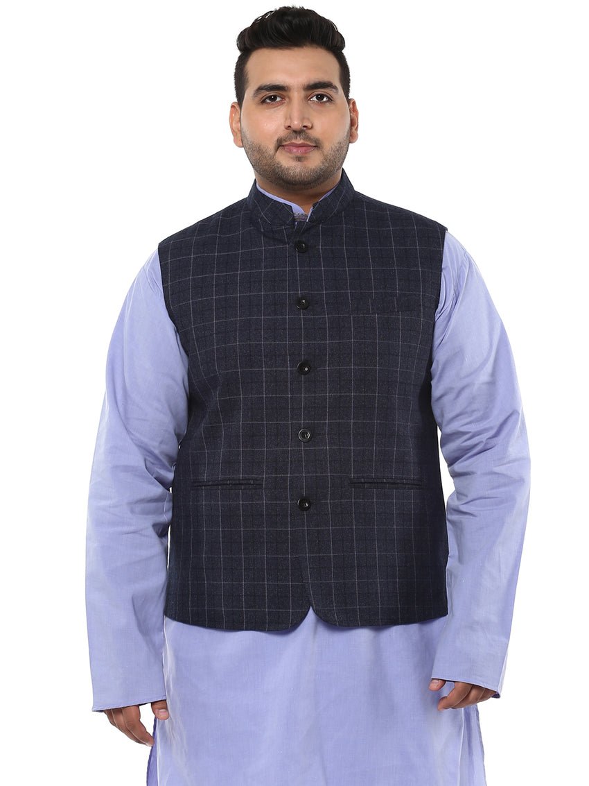 John Pride Grey Checked Nehru Jacket- 7409