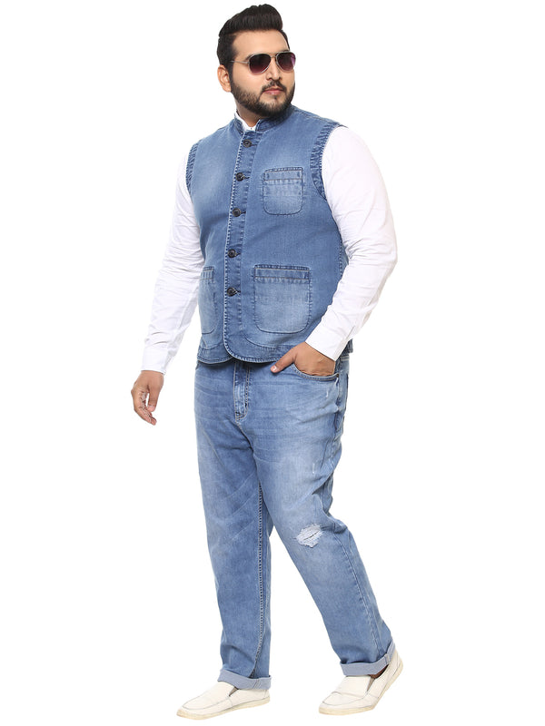 Light Blue Denim Nehru Jacket-7415