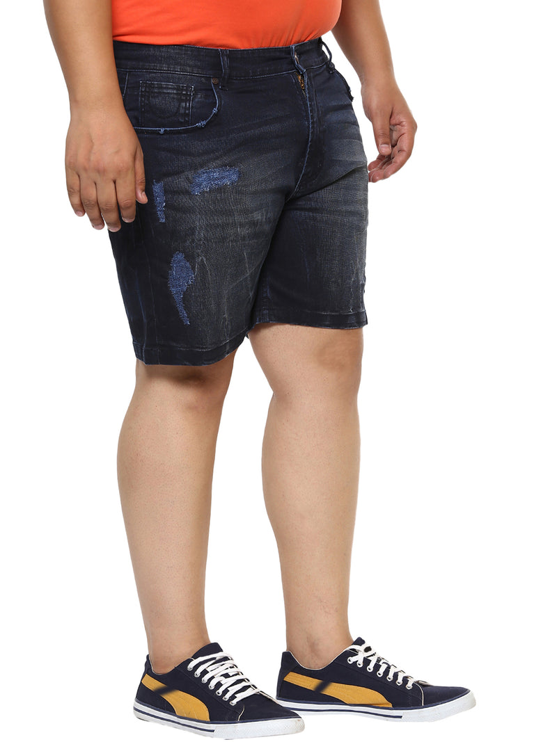 Dark Blue Stretchable Denim Shorts-6612